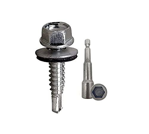 DOJA Industrial   Tornillos Autotaladrantes con Arandela 4,2x19 + Vaso Taladro M7   PACK 100 de Tornillos Autoperforantes Hexagonales + 1 Llave de Vaso Torx   para Chapa Tejado, Placa Aluminio.