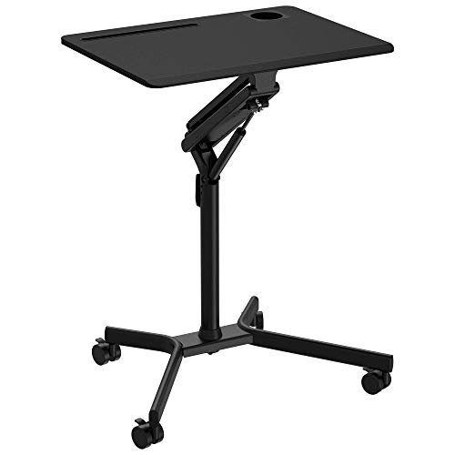 ONTRY Height Adjustable Mobile Desk 27.5', Rolling Portable Standing Desk with 4 Movable Wheels and Gas Spring Lift Mechanism, Home Office Computer Workstation, Ergonomic, Black