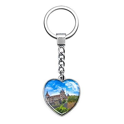 """""""N/A"""" Deutschland Festung Marienberg Würzburg Schlüsselbund Einzigartige Kreativität Tourismus Souvenir Geschenk Herzförmige Edelstahl Kristallkette"""