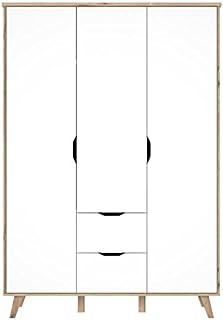 Armoire de chambre VANKKA scandinave decor chene et blanc mat + pieds en bois massif - L 140 cm