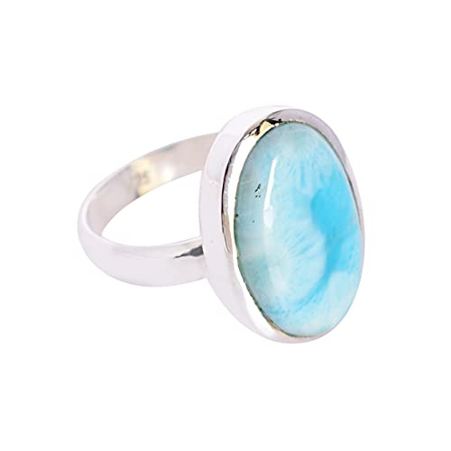Ravishing Impressions Jewellery Mujer Unisex 0.925 plata de ley ovalada Blue Larimar