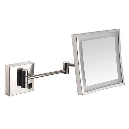 Mirmón de maquillaje de 8 pulgadas LED LED Montaje de pared Vanidad de un solo lado con interruptor 3x Baño de lupa Afeitado Ajustable Brazos Ajustable Espejo cosmético (color: 262) ( Color : 262n )