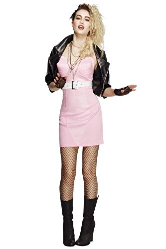 Fever, Damen 80er Jahre Rock Diva Kostüm, Kleid, Jacke, Gürtel, Halskette und Stirnband, Größe: M, 43477