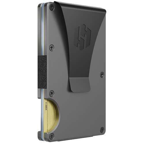 Hayvenhurst Slim Minimalist Front Pocket RFID Blocking Metal Wallets for Men with Money Clip