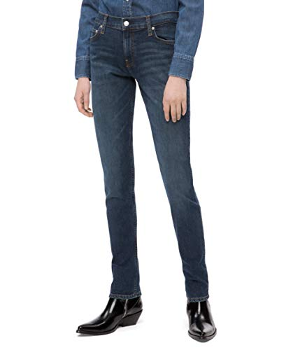 Calvin Klein Women's Mid Rise Slim Fit Jeans, Hamptons blue dark, 33X32