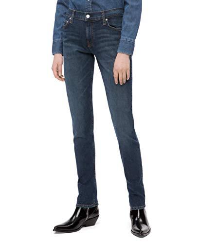 Calvin Klein Women's Mid Rise Slim Fit Jeans, Hamptons Blue Dark, 32X32