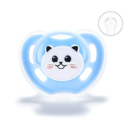 KERDEJAR Chupete para bebé, Chupete para recién Nacido, Bonito Chupete con diseño de Gato Panda de Dibujos Animados, Herramienta de Confort para bebés, Suministros de Cabeza Redonda Azul