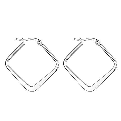 JewelryWe Schmuck Damen Ohrringe Edelstahl Poliert große Quadrat Viereck Geometrie Hoop Creolen Ohrstecker Silber 25mm