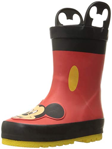 Western Chief baby girls Waterproof Disney Character With Easy on Handles Rain Boot, Mickey Mouse, 7 Toddler US