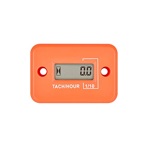 Digital Waterproof Inductive Gasoline Engine Tachometer Hour Meter Used for Motorcycle Lawn Mower Chainsaw Boat Outboard Motor(1P1R)