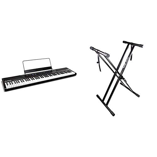 Alesis Recital | 88 Key Beginner Digital Piano/Keyboard with Full Size Keys & RockJam Xfinity Heavy-Duty, Double-X, Pre-Assembled, Infinitely Adjustable Piano Keyboard Stand with Locking Straps