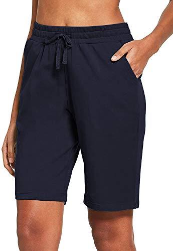 COOrun Women's Basic Solid Premium Cotton Mid Length Biker Bermuda Shorts for Yoga Running Indoor Walking Pajamas Shorts Navy Blue