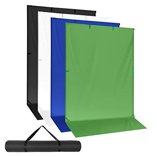 "Neewer Chromakey Green/Blue and Black/White Backdrop with Backdrop Banner Stand, Collapsible Reversible Photography Background 59""x119"" Chroma-Key Panel for Photo Studio Shooting, Live Streaming"