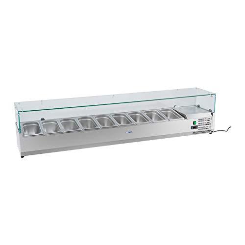 Royal Catering Kühltheke Kühlvitrine Kühlaufsatz RCKV-160/33-O (180 W, Kapazität 48 L, 0-10 °C, Glasabdeckung, 160,5 x 33,5 x 46 cm, für sieben GN 1/4 Behälter geeignet, Edelstahl)