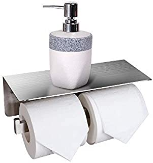 CRO DECOR Bathroom Toilet Paper Holder with Shelf, Stainless Steel Double Roll Toilet Tissue Holder Wall Mounted for Mobile Phone Storage, Brushed Nickel