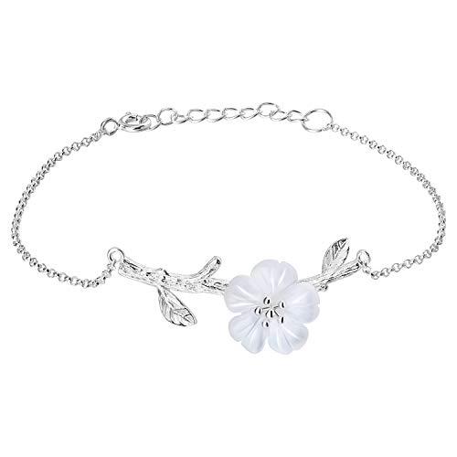 Lotus Fun S925 Sterling Silver Women's Bracelet, Crystal Flower in The rain, Charm Bracelet, Chain Length: 16.5-19 cm. Handmade Unique Jewellery.