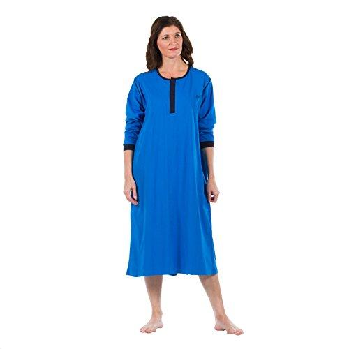 4Care Pflege Nachthemd, für Damen und Herren, Jersey, mit offenem Rücken, Klettverschluss vorne und Druckknöpfe im Nacken, 251 Blau, Größe M