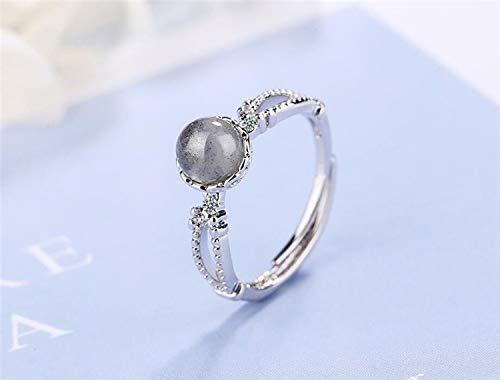 SHENSHI Ringe,Verstellbare Ringe Erdbeerkristall Süße Frische Süße Kunst 925 Sterling Silber Trendy Ringe Schmuck Frauen,Mondstein,Einheitsgröße