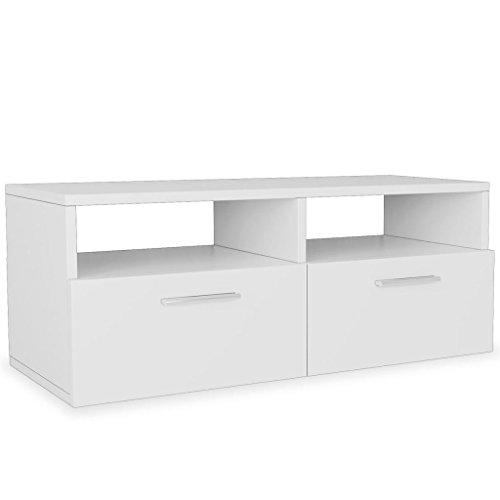 Kshzmoto gabinete de TV Cartón Madera Mueble TV Tablero de TV Mesa de televisión Estante de TV 95 x 35 x 36 cm Blanco