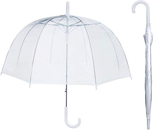 House Of Reign Clear Umbrella With 47 Inch Windproof Double Canopy Bubble- Fits Two