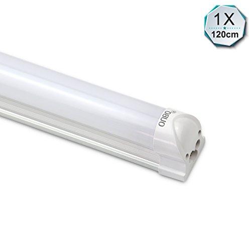OUBO® 120CM LED Leuchtstofflampe mit Fassung Lichtleiste T8 Röhre 18W Tube Leuchtstoffröhre Neutralweiß (4000-4500K) Unterbauleuchte montagefertig mit Milchiger Deck, inkl. Zubehör