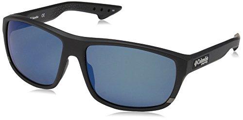 Columbia Gafas de sol ovales polarizadas Airgill Lite para hombre, negro mate / azul, 60 mm