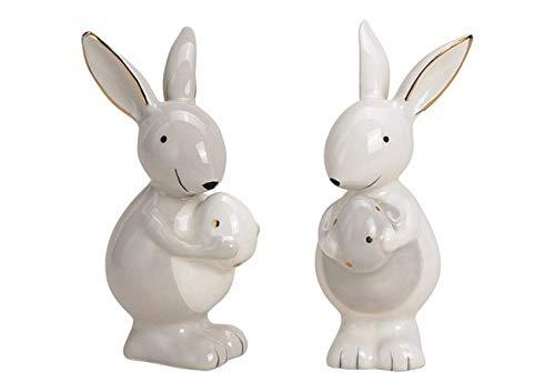 Deko Figur Lamm Schäfchen Schaf stehend aus Keramik weiß matt natur 11 x 11 cm groß, Lämmchen Osterdeko Gartenfigur für Frühling und Ostern