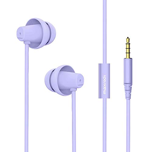 MAXROCK (TM) Total Soft Silicon Headphones with Mic Sleep Travel Choice for Cellphones Tablets and 3.5mm Jack ( Violet)