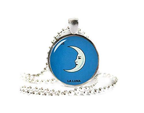 Collar con colgante de La Luna, joyería mexicana, adornos de cristal, hecho a mano 🔥