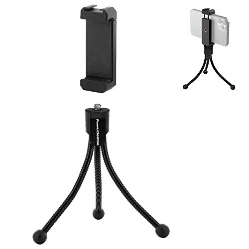 Flexible Tripod with Smartphone iPhone Holder - Mini Tripod Compatible with iPhone 7, 8, X, 11 Pro Max and Android - Portable Travel Adjustable Cell Phone Tripod Stand