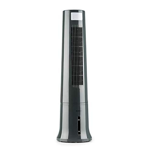 Klarstein Highrise - 3-in-1 Luftkühler, Ventilator, Luftbefeuchter 35W 530 m³/h max.2,5L Eispack, drei Ventilationsmodi, Oszillationsfunktion, Timer, Tragemulde, Fernbedienung, silbergrau