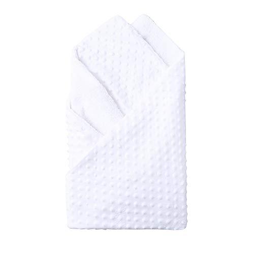 OverDose Damen Neugeborene Baby Decke warme weiche hohe Qualität Fleece Stroller Cover Quilt Windeln Bettwäsche(Weiß,74 cm*100 cm)