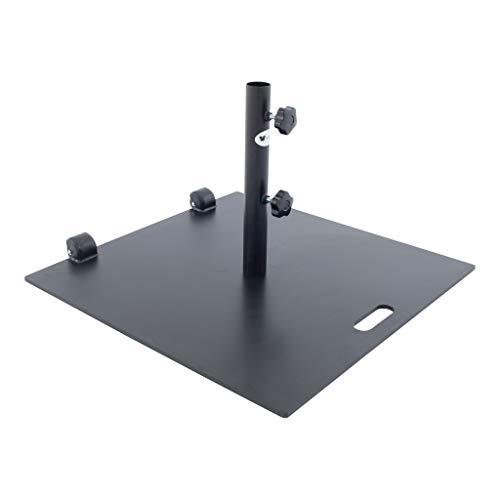 SORARA Quadratischer Sonnenschirmständer aus Stahl mit Rollen | Schwarz | 60 x 60 cm
