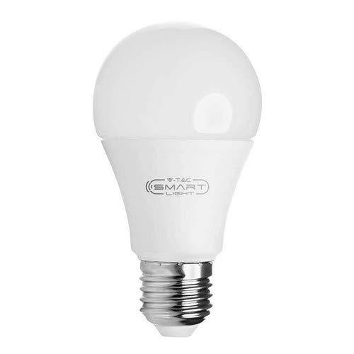 V-TAC Ampoule LED 9W Smart WiFi RGB Blanc et Multicolore Dimmable Auto on/Off Compatible Google et Alexa Home Pas Hub Required E27 Edison à vis Standard Base RGB + 4000K E27