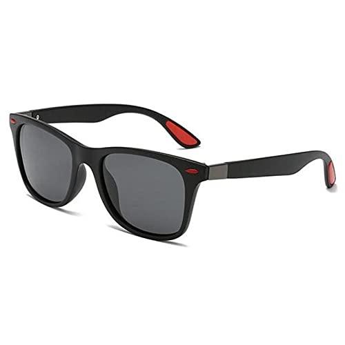 UKKD Gafas de Sol Gafas De Sol Polarizadas Clásicas Hombres Mujeres Conducción Marco Cuadrado Gafas De Sol Sombras Masculinas Gafas Uv400-P21Black Red Gray