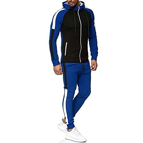 Traje de chándal para Hombre Completo, Colorblock Sudadera con Capucha a Rayas Sweatpants 2 Piezas de Traje, Tejido de Punto Casual Transpirable Joggers S ~ 3XL Blue-XL