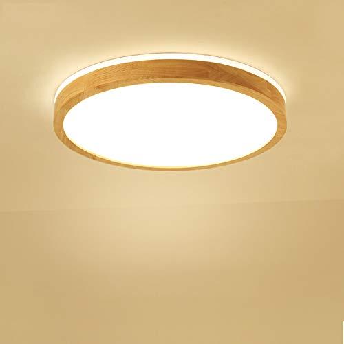 LED Deckenleuchte, Top 360° Glühen Holz Deckenlampe, Warmweiß 3000K 2700lm 30W, Φ40cm Runde Holz Lampe für Wohnzimmer, Schlafzimmer, Esszimmer, Büro, Kinderzimmer Leuchte Decke Licht Holzlampe