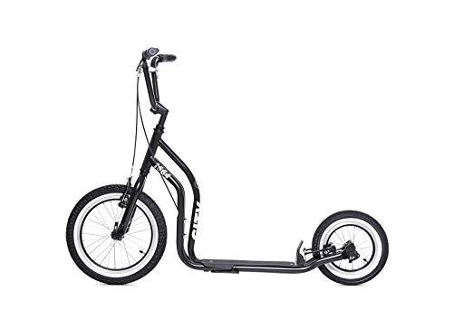 Yedoo New York Tretroller - ab 140 cm Körperhöhe, bis 120 kg, mit Luftreifen 16/12, Cityroller für Erwachsene und Kinder mit Verstellbaren Lenker und Ständer (schwarz)