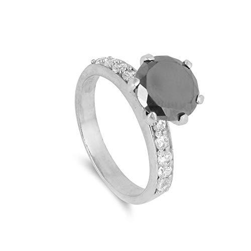 GEMHUB Anillo de plata de ley 925 con moissanita negra y detalle blanco de 3,15 quilates, corte brillante redondo de 3,15 quilates, diamante moissanita