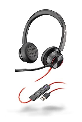 Poly Stereo-Headset \'Blackwire 8225-M\' mit USB-A Anschluss, Active Noise Cancelling und flexiblem Mikrofonarm, Microsoft Teams, Schwarz