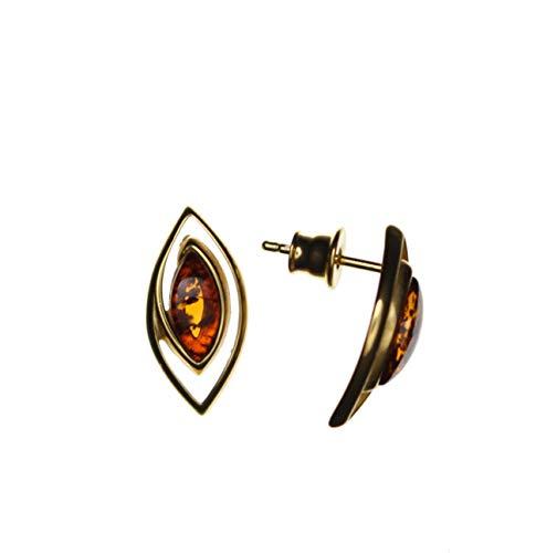 Pendientes modernos de ámbar y plata de ley 925/000 chapada en oro de Artisana.