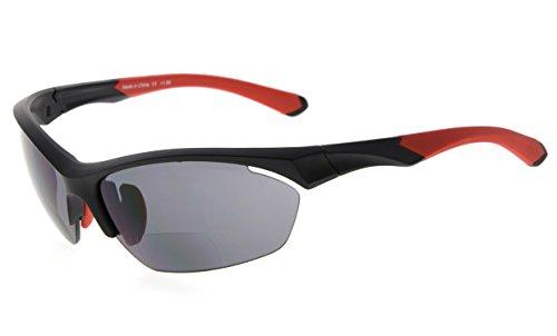 Eyekepper TR90 Sport Bifokale Sonnenbrille Baseball Laufen Angeln Fahren Golf Softball Wandern Halbrandlose Lesebrille (Schwarzer Rahmen Roter Tempel, 2.00)