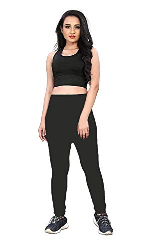 DOZZBY with DB Women's Sports Bra Yoga Pants Gym Outfits Tracksuit Sports, Lower Stylish Breathable Exercise Stretchable Padded Bra and Leggings free size, Multicolour