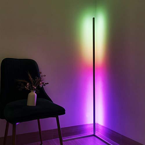 ZWPY LED Floor Lamp Dimmable, RGB Color Changing Light Column Corner Floor Lamp, White, H 140Cm