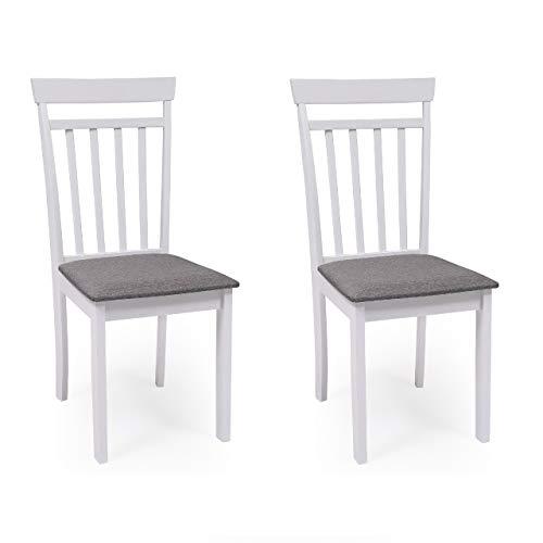 Pack de 2 sillas de Comedor o Cocina Kansas Estructura Madera Color Blanco Asiento tapizado Color Gris