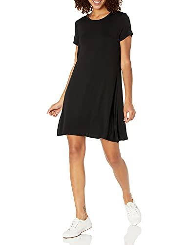 Amazon Essentials - vestito da donna a maniche corte con scollo rotondo, Nero, US S (EU S - M)