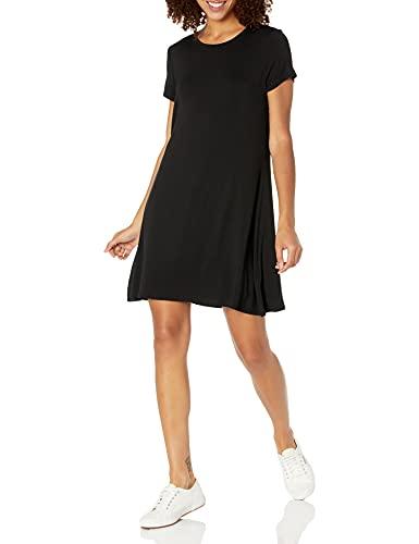 Amazon Essentials Women's Short Sleeve Scoopneck A-line Shirt Dress, Black, XS
