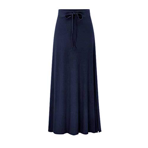Damen Röcke Mädchen High Taille Maxi-Länge Rock mit Falten Gürtel Blau 6XL