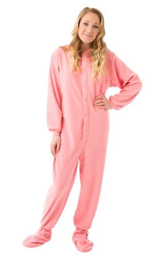 BIG FEET PAJAMA CO. Rosa Fleece erwachsen Onesie Fuß Pyjamas mit Butt Flap hinteren Klappe für Männer & Frauen
