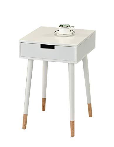 Meubletmoi Nachttisch skandinavisches Holz weiß lackiert 4 Füße zweifarbig – Sofabezug mit Schubladen – Henri